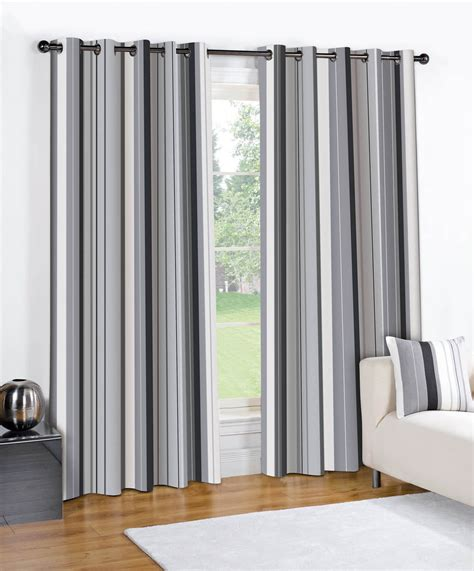 black cream striped curtains striped grommet lined pair eyelet ready made 2 drape