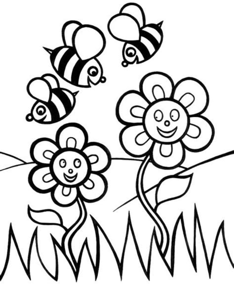 coloring pages of flowers and bees flower and bees coloring pages coloring