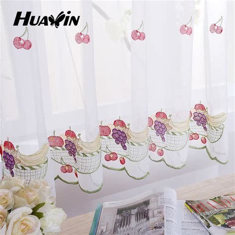 kitchen curtains fruit design fruit design embroidery voile kitchen cafe curtains view