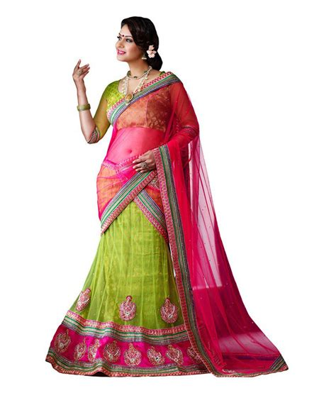 Elpeka Blouse Kode 2060 1 morli mem1070 green net lehenga dupatta and