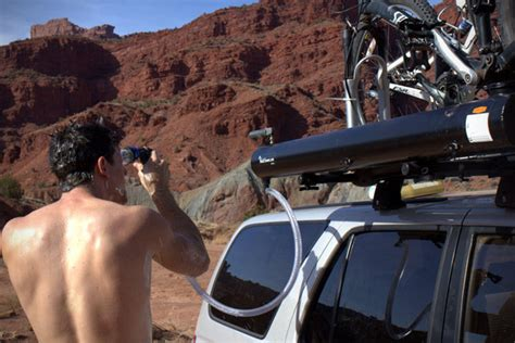 road trip bathroom scene road shower rack mounted solar powered shower hiconsumption