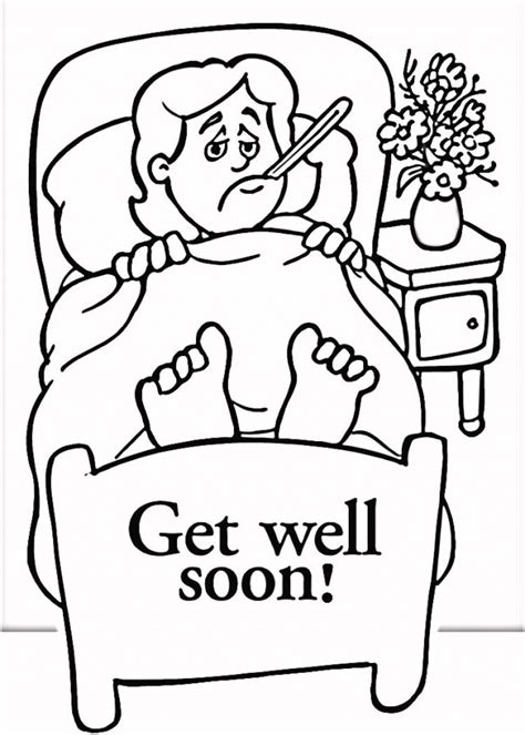 get well soon colouring card template get well soon coloring pages to and print for free