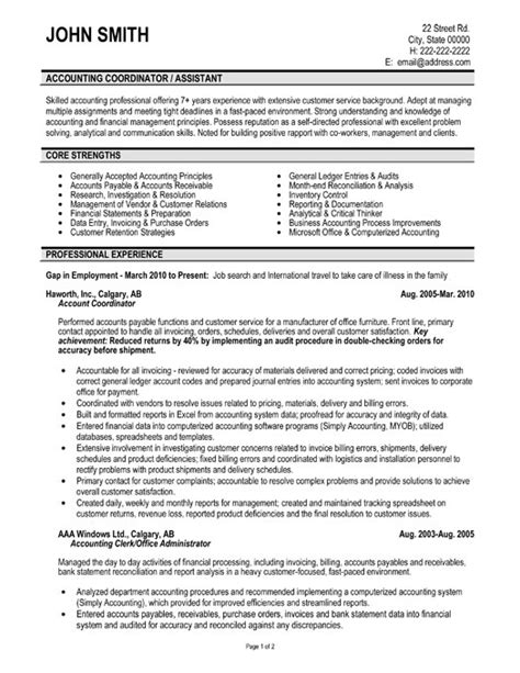 accounts resume format account coordinator resume sle template