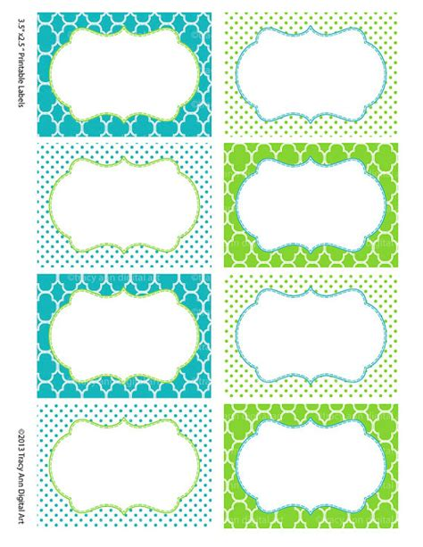 printable labels etsy printable labels or buffet cards blue and green instant