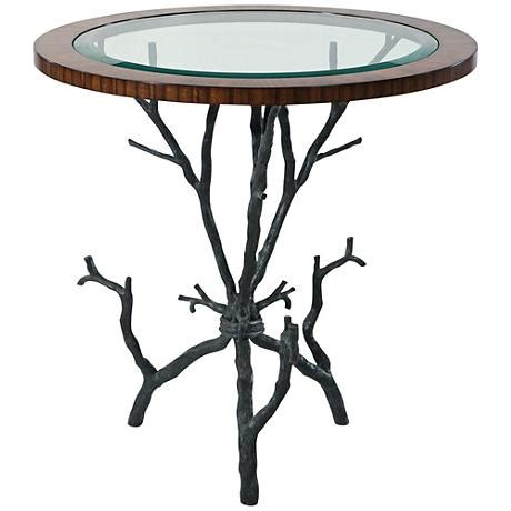 glass top accent table arbore natural brass and glass top accent table 1r232