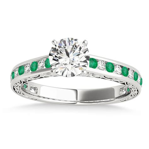 emerald channel set engagement ring platinum 0 42ct
