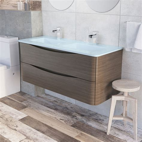 erin 1200 basin vanity unit grey elm white glass