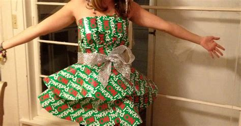 christmas party dress    wrapping paper  ribbon     minutes  cut