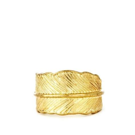 feather ring gold accessories feather
