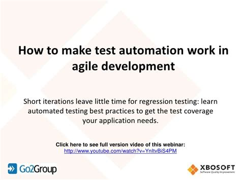 how to make test automation work in agile development