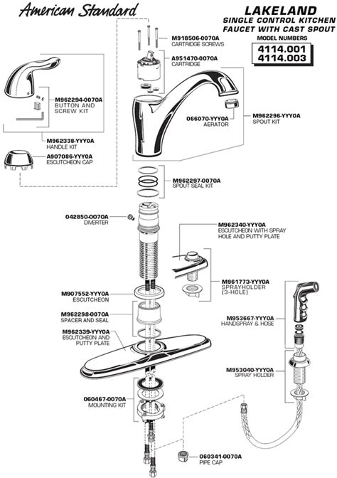american standard kitchen faucet parts diagram plumbingwarehouse american standard bathroom faucet