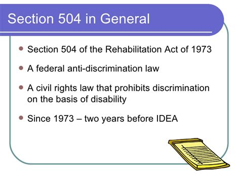 section 504 of the rehabilitation act of 1973 summary introduction to section 504 09 08