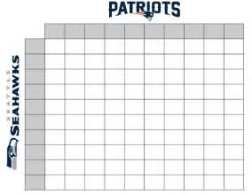 Football Square Board Template by New Patriots Seattle Seahawks Free 2015 Printable
