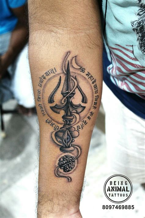 trishul mantra rudraksha shiva theme tattoo by