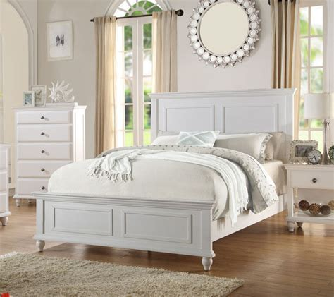 santa barbara coastal style white finish wood queen