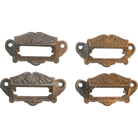 eastlake cabinet hardware cast iron insert labels pulls