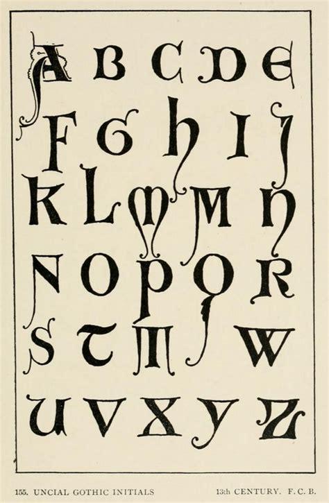 unical lettere uncial initials 13th century alphabet letters