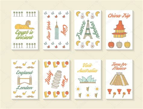 doodle cards doodle travel cards collection stock