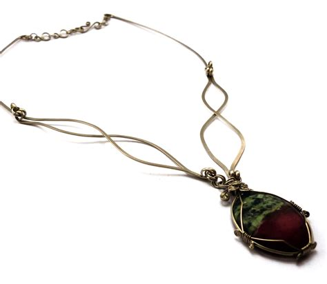 wire wrapped necklace with ruby zoisite by