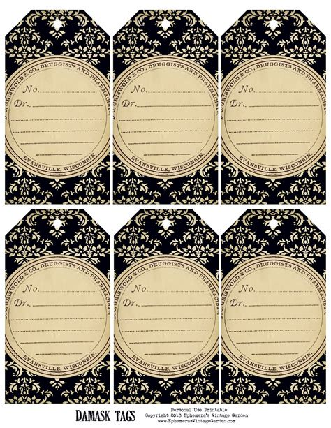free printable jewelry tags ephemera s vintage garden weekly free printable damask tags