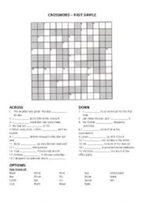 printable diagramless puzzles crossword puzzle to teach the simple past autos post