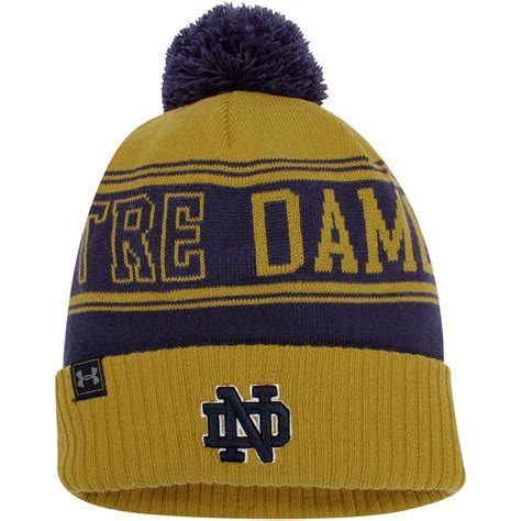 notre dame knit hat armour notre dame fighting navy gold cuffed