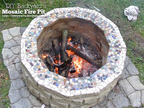 hometalk diy backyard mosaic firepit