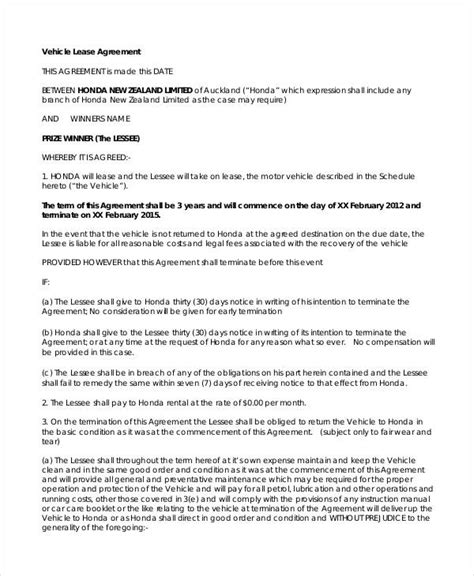 auto lease agreement template vehicle lease agreement 9 free pdf documents