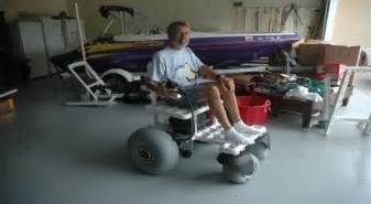 The center of gravity and made the beach wheelchair more stable