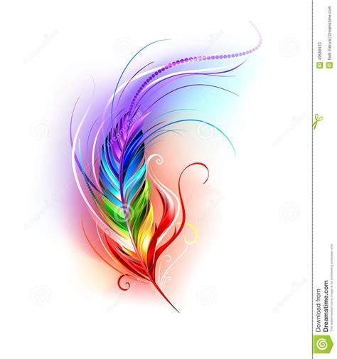 rainbow feather on white stock vector image 49688933