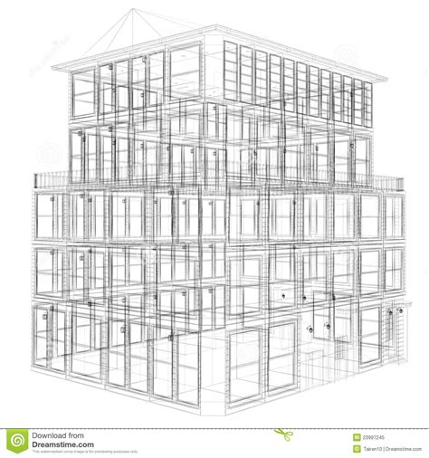 perspective view of wireframe building stock illustration