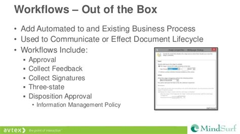 sharepoint out of the box workflows mindsurf 2013 sharepoint out of the box project management