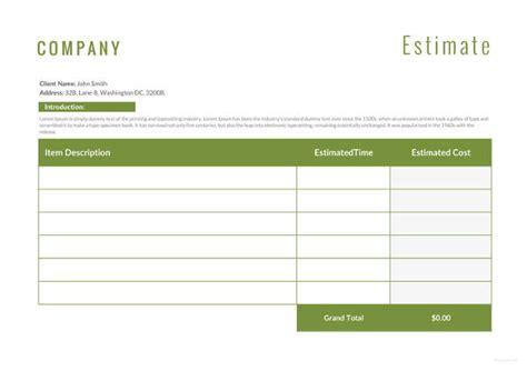 16 Sle Estimate Templates Doc Pdf Excel Free Premium Templates Estimate Template Word