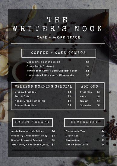 coffee price list template coffee price list template images free templates ideas