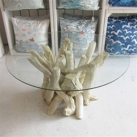 driftwood and glass table round driftwood coffee table 40cm high by karen miller