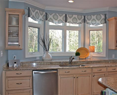 kitchen window valances ideas the ideas of kitchen bay window treatments theydesign