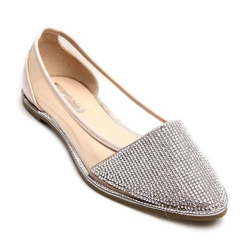 flat heeled shoes new womens diamante sparkly flat heel point ballerina