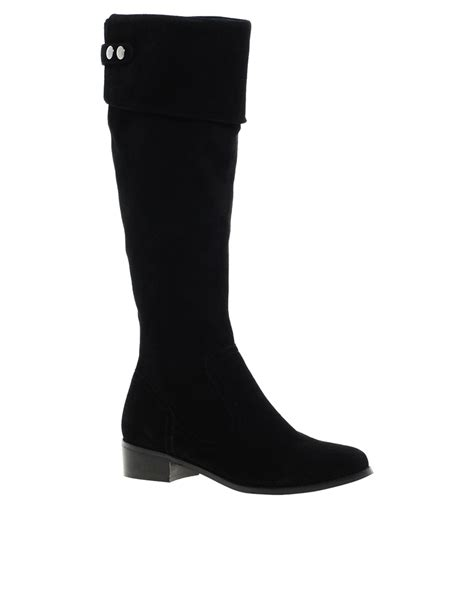 dune tish black suede the knee boots in black lyst