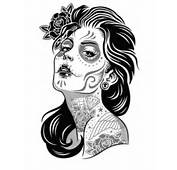 Day Of The Dead Girl Tattoo Flash