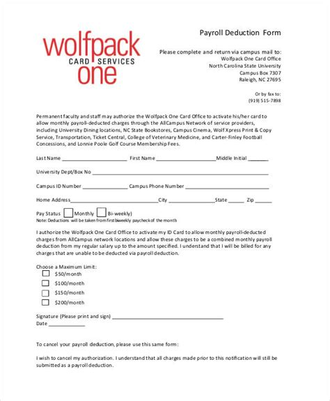 employee deduction form template payroll deduction form template 10 free sle exle