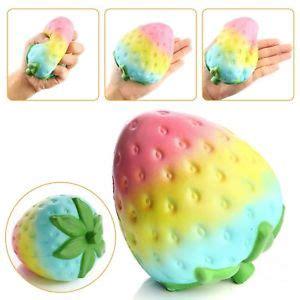 Squishy Buah Stroberi Strawberry Jumbo Rainbow 12cm kawaii jumbo rainbow strawberry squishy rising bread kid gift ebay