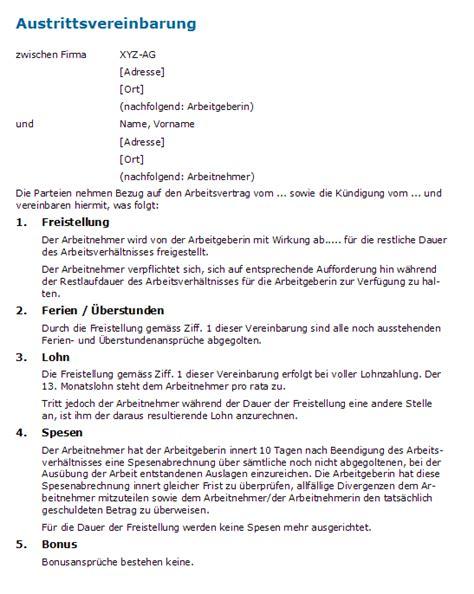 Muster Kündigung Mit Freistellung K 252 Ndigung Mit Freistellung Muster F 252 R Eine Austrittsvereinbarung