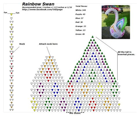 3d Origami Diagrams Free - rainbow swan diagram the same diagram can be used with