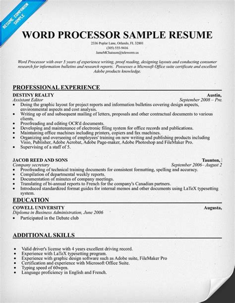 Resume Templates For Word Processor Resume Template Word Processor 28 Images Resume