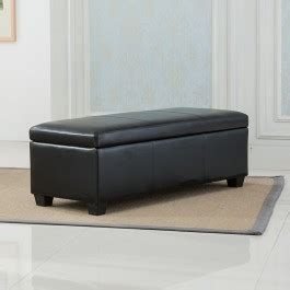 48 inch storage bench black faux leather storage foot rest sofa ottoman bench