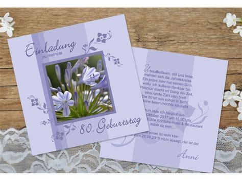 Einladung Hochzeit Flieder by Einladungskarte 50 60 70 80 Geburtstag Zweiseitig Flieder