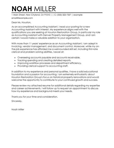 cover letter assistant accountant best accounting assistant cover letter exles livecareer