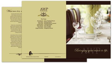 Wedding Brochure Layout by Half Fold Brochure Template For Wedding Planner Order
