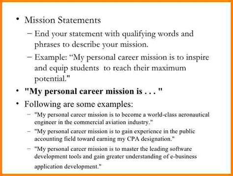 personal mission statement template 6 sle personal mission statement statement 2017