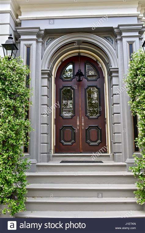 Grand Front Doors Grand Front Door Entrance To Beautiful Colonial Style Home In Stock Photo 138624297 Alamy